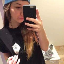 Wholesale Cheap Hip Hop T Shirts - ZSIIBO Fashion Funny Cheap Cat women's Pocket Cat T-Shirts Casual Clothing Short Sleeve T shirt Female Loose Fit Tops Hip Hop NV09 RF