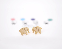 Wholesale Vintage Metal Animal Jewelry - Cute Stainless Steel Origami Elephant Charm Animal Stud Earrings For Women Gold Silver Plated Vintage Metal Jewelry