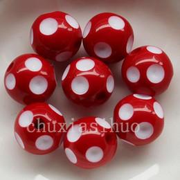 Wholesale 24mm Acrylic Beads Wholesale - 20PC Assorted Acrylic Polka Dot Chunky Round Bead Charm 24MM