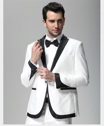 Wholesale Evening Wear For Men - 2016 White and Black Mens Wedding Tuxedos For Grooms Wear Slim Fit Man Groomsmen Prom Evening Party Mens Suits Dinner Jacket Black Lapel