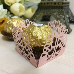Wholesale Wedding Candy Cup - Wholesale- 50pcs cup cake wrappers candy box bar wedding favors and gifts candy box bar casamento party candy bar cake accessories