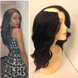 Wholesale U Part Wigs - 9A U Part Human Hair Wigs Loose Wave Brazilian Virgin U Part Wig For Black Women 1*3 Right Opening Upart Wigs