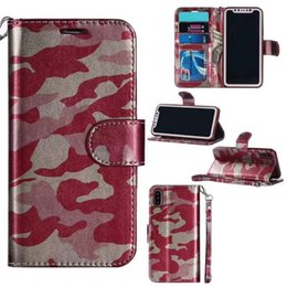 Wholesale Iphone 5s Skin Cover - Camo Camouflage Wallet Leather Case For iPhone 7 6 Plus 5 5s Samsung S6 S7 Edge Card Slot Cash Skin Holder Flip Stand Case Cover