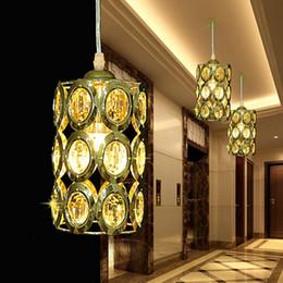 Wholesale Crystal Suspension Light - 2016 Suspension Luminaire Pendant Lights Modern Crystal Gold Pendant Lamp Led Hanging Lights Ac85-265v 3w European Style Light Dining Room