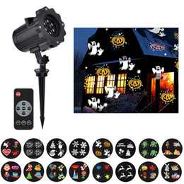 Wholesale Pattern Projector - Christmas Light Projector 12 14 15 16 Pattern Waterproof Led Landscape Spotlight with 16 Slides Dynamic Lighting For Halloween Holiday Party