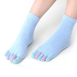Wholesale Wholesale Womens Heels - Wholesale-JY 8 Fairy Fantasy 2016 Hot Selling Womens Cotton Colorful Gym Non Slip Massage Toe Socks Full Grip With Socks Heel
