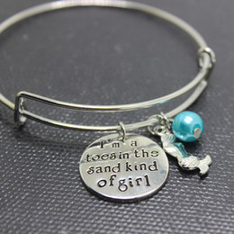"""Wholesale Kind Girls - 12pcs lot NEW fashion """"Little mermaid""""bracelet I am a toes in the sand kind of girl Wire Bracelet Bangle Women or Girls Gift Jewelry"""