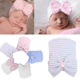Wholesale Babys Beanies - Latest newborn baby winter Autumn hospital warm hats caps Beanies Hot babys boys girls bow knitted hat cap Beanie Hat for 0-3M kids