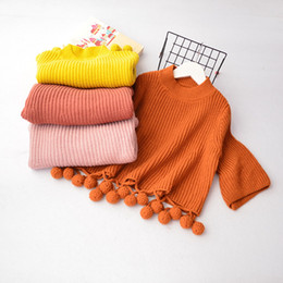 Wholesale Kids Girl Wool Sweater - Everweekend Kids Girls New Candy Color Tassels Batwing Sleeves Sweater Tops Knitting Pullover Tops Baby Clothing
