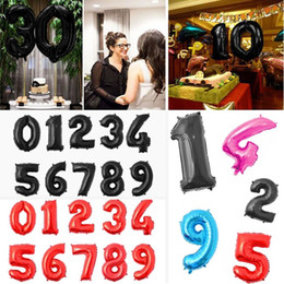 Wholesale Black Digits - 20 Inch Large Red Black 0-9 Number Foil Helium Balloons Digit Balloon Celebration Supplies