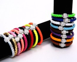 Wholesale Chain Neon Color - PU Leather Crystal Ball Shamballa Magnetic Clasp Bracelet Cuff Fluorescence Neon Color Clasp Bracelet Bangle Wholesale 500pcs