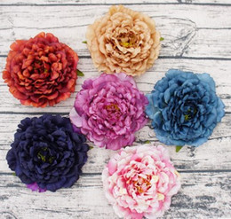 Wholesale Euro Style Bag - 16cm Peony Flower Head Euro Style Dark Autumn Color Big Blooming Head Realistic Looking For Garment Bag Decorative Accessories Even Deco