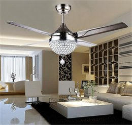 Wholesale Crystal Light Remote Switch - Changeable Light 18W Ceiling Fans Crystal Light Lamp with Remote Control 42-inch 220V 110V Modern Ceiling Fans Lights with Metal Blade