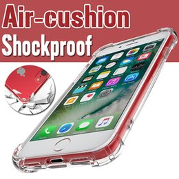 Wholesale Transparent Shockproof Iphone Bumper - Air Cushion Shockproof Camera Protection TPU Bumper + Acrylic Cover Transparent Hard Case For iPhone X 8 Plus 7 6 6S 5S Samsung Galaxy S9 S8