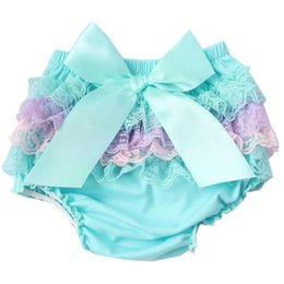 Wholesale Satin Diaper Covers - Soft Lace Ruffle Baby Shorts Summer Kid Clothing Back Side Ruffle Baby Bloomer Soft Cotton Ruffle Diaper Cover With Bow