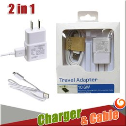 Wholesale Kit Eu Usb Iphone - 2 in 1 EU US Plug Adapter Wall Charger For iPhone 7 Kits USB cable Data Sync Cable For Samsung S7 Note 8