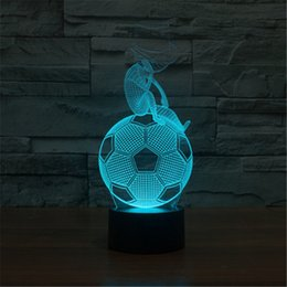 Wholesale Usb World Cup - 3D Acrylic Colorful USB Nightlight Creative Children's World Cup Football Shape Christmas Gift LED Table Lamp-164
