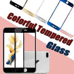 Wholesale Ultimate Iphone - Colorful Tempered Glass Screen Protector Explosion proof Film Ultimate Shock Absorption Color Plating Mirror Glass For iPhone 8 7 Plus 6S 5S