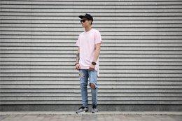 Wholesale Man Front Panel - Front Short Back Long Patchwork Hem Solid Color Longline Men's T-shirt 2016 Summer Streetwear Hip Hop Tee Shirt USA Size