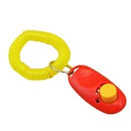 Wholesale Universal Weight - 2017 Universal Animal Pet Dog Puppy Training Clicker Obedience Aid + Wrist Strap Light Weight Fast free DHL Shipping Delivery