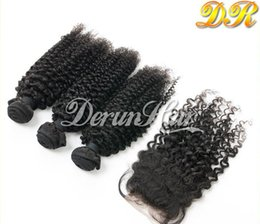 Wholesale 6a Brazilian Hair Bundles - 100% brazilian human virgin hair one Free part top Lace Closure with 3 Bundles 6A kinky curly hair weft unprocessed human hair extension