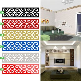 Wholesale Design Removable Wallpaper - Hot Seller 3D Mirror DIY Removable Wallpaper Skirting Wall Stickers Ceiling Background Decal Acrylic Home Decor JM27 Free Shipping