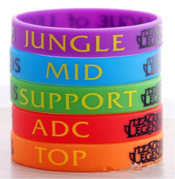 Wholesale Silicon Bracelets Printing - wholesale 50pcs Lot, New Trendy LOL League of Legend Wristband, Silicon Bracelet with ADC, JUNGLE, MID, SUPPORT, Printed Band,