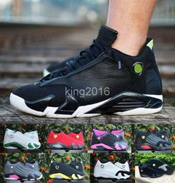 Wholesale Newest Low Cut Basketball Shoes - 2016 Newest Dan Retro 14 XIV Mens Womens Basketball Shoes Low Green Red Cool Grey Retros 14s Athletic Sport Trainers Sneakers Eur 36-47