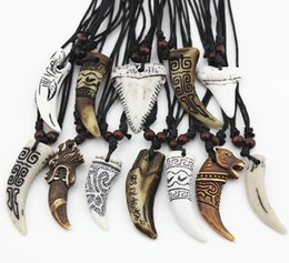 Wholesale Shark Chain - Wholesale 12pcs Mixed Cool Imitation Bone Carved Dragon Totem Shark Wolf Tooth Pendant Necklace Amulet MN465