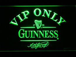 Wholesale Guinness Led Signs - 426 VIP Only Guinness Beer LED Neon Sign with On Off Switch 7 Colors to choose Plastic Crafts