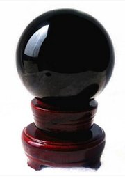 Wholesale Feng Shui Year - 4inch natural Black Obsidian Divination Sphere Crystal Ball with Stand