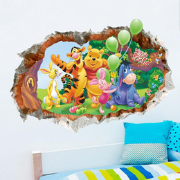 Wholesale Baby Wall Stickers Winnie - New Removable Winnie The Pooh Wall Stickers Vinyl decals For Nursery Baby Room Decor free shipping