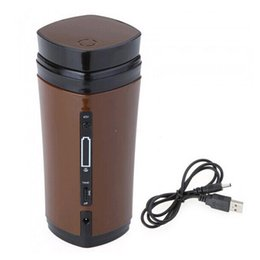 Wholesale Usb Heated Warmer Coffee Cup - New Rechargeable USB Electric Heating Automatic Stirring Insulated Coffee Milk Tea Travel Mug Thermos Cup & Lid Warmer