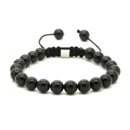 Wholesale Macrame Shamballa - Wholesale 10pcs lot 8mm Natural Black Onyx, White Howlite Marble & Grey Jasper Stone Beads Shamballa Macrame Lucky Bracelets