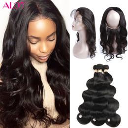 Wholesale Hiar Wave - Brazilian Virgin Hair Body Wave 360 Lace Frontal with Bundles 3Pcs Human Hiar Extensions Unprocessed Pre Plucked 360 Frontal with Bundles