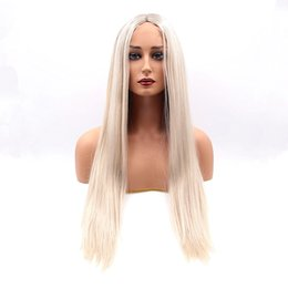 Wholesale High Heat Synthetic Wigs - Natural Black Blonde Ombre Brazilian Straight Lace Front Synthetic Wigs Dark Roots High Quality Heat Resistant Fiber Hair