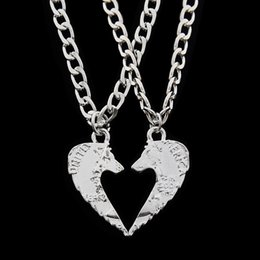 Wholesale Men Making Love - 2 pcs set Tiger Wolf Cut Coins Pendant Necklace Make A Heart Lover Men Couple Best Friends Necklaces Friendship Animal Jewelry