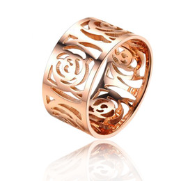 Wholesale Influx Ring - Temperament hollow camellia plated 18K rose gold ring Korean version of the influx of people tail ring ring