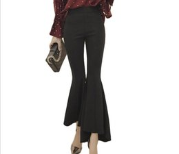 Pantalon de travail vintage en Ligne-Vintage taille haute Slim Flare Pants date femmes élégantes OL travail longueur cheville pantalon pantalon