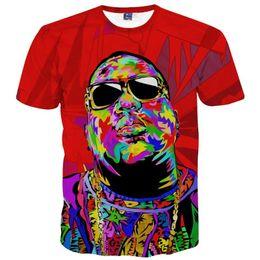 Wholesale Rapper T Shirts - America Fashion Brand Clothing Men's T-shirt 3d Print Rapper Christopher Wallace Hip Hop 3d T shirt Summer Tops Tees