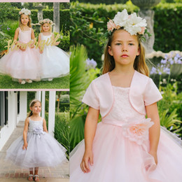 Wholesale Communion Dresses Lace Bodice - 2016 Blush Pink Tea Length Flower Girl Dress For Weddings Sleeveless Puffy Flower Sequin Lace Bodice Ball Gown Tulle Skirt With Jacket