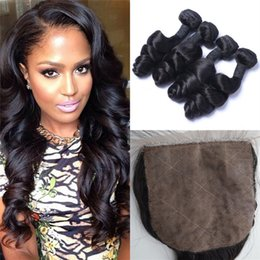 Wholesale high quality virgin hair - Silk Base Closure with 4 Wefts Mongolian Virgin Hair High Quality Loose Wave Mongolian Human Hair G-EASY