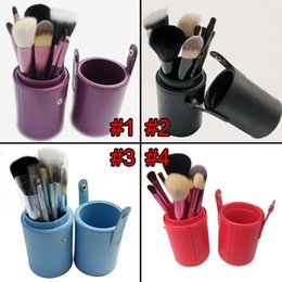 Wholesale Brushes Cup Holder - 12pcs lot Makeup Tools Brushes Fashional Cosmetic Brush set kits Tool 5 Colors Facial Make up brushes with Cup Holder Case