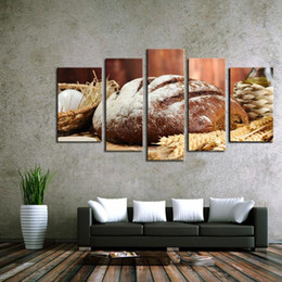 Wholesale Food Canvas Prints - 5 Pieces no frame Oil Paintings on Canvas Wall Decoration Retro Bread and Oats Fruit Food Life