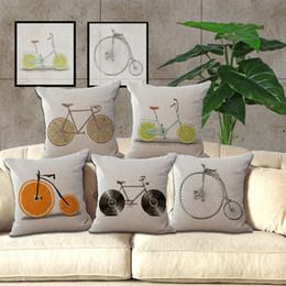 Wholesale Bike Chair - Simple Cotton Linen Fruit Bike Pattern 18X18 inches Pillowcase Chair Waist Throw Pillow Cover Home Decoration 240451