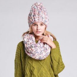 Wholesale Thick Knit Scarf Sets - Wholesale-Varicolored Knit Hat And Scarf Warm Winter Hat For Women Hat Beanies Thick Female Bonnet Scarf Set Women Scarf Comfortable