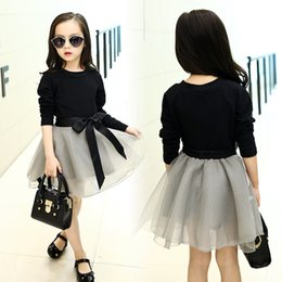 Wholesale Black Veil Skirt - So beatiful!2016 New Spring Set Children Two Piece Suit Girl's Veil Skirt+long-sleeve T-shirt Set Big Child cotton Set Wholesale