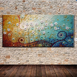 Wholesale Cartoon Flower Pictures - 100% Hand painted oil painting on canvas abstract Flower decorative wall pictures modern popular home decoration Christmas gift