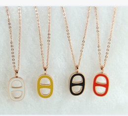 Wholesale Gold Bone Chain - Free shipping Multicolor epoxy letter rose gold necklace titanium 14K Rose Gold bone short chain necklace