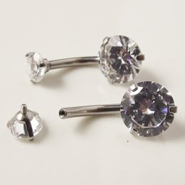 Wholesale Navel Belly Rings Zircon - 10 pieces 14G Internally Threaded Surgical Stainless Steel Navel Rings Doube Zircon Stone Star Sexy Belly Button Ring Body piercing Jewelry